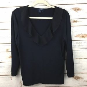 Chaps navy Ruffle v Neck collared blouse